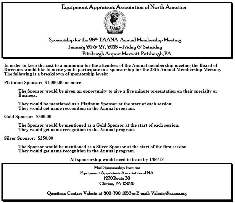28th EAANA Annual Meeting Sponsorship Form - Equipment Appraisers