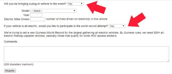 National Drive Electric Week Registration Page showing where to sign up for World Record