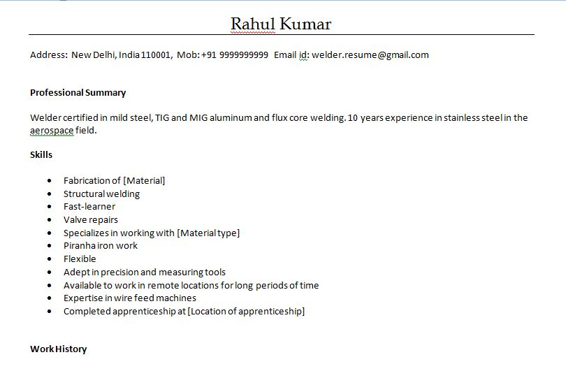 Resume format for welder in word format - welder fabricator resume