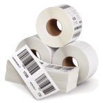 "5"" x 3"" Thermal Transfer Paper Labels, Perforated, 8"" Outside Diameter, 1900 Labels/Roll, 4 Rolls/Box"