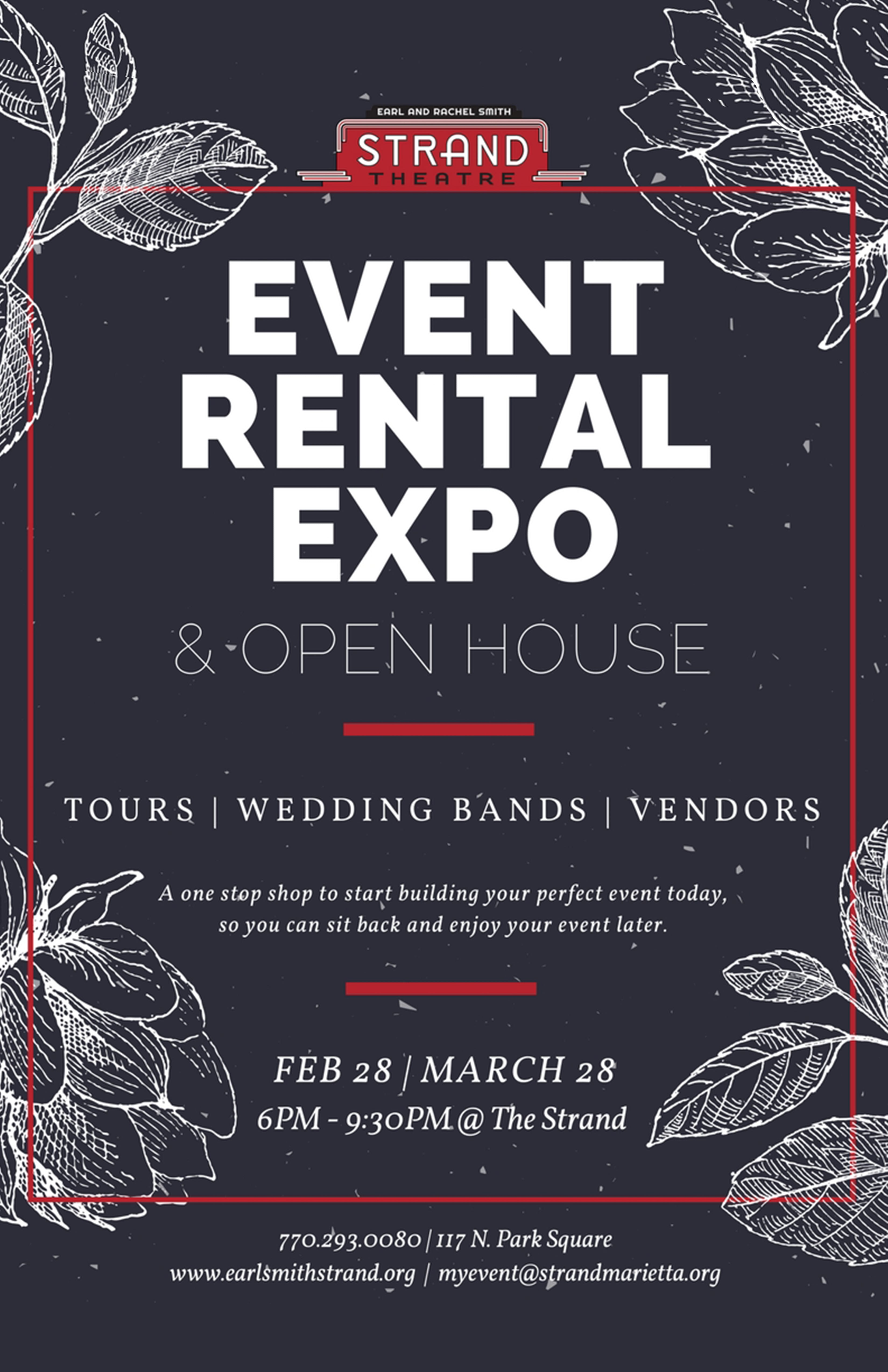 Poster Strand Event Rental Expo Open House Strand Marietta