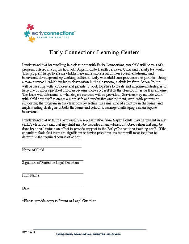 Release  Consent Forms \u2013 Early Connections Learning Center - parent release form