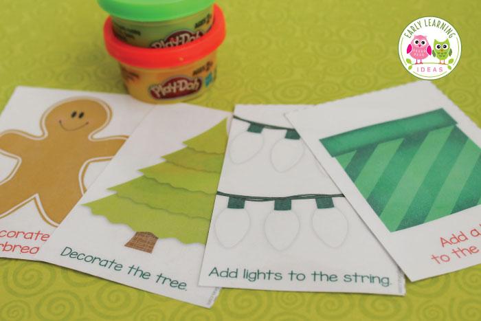 Christmas Play Dough Mats A Holiday Gift for Kids free printable