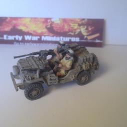 LRDG jeep loaded with stores, spare wheels, sand ladders a .50