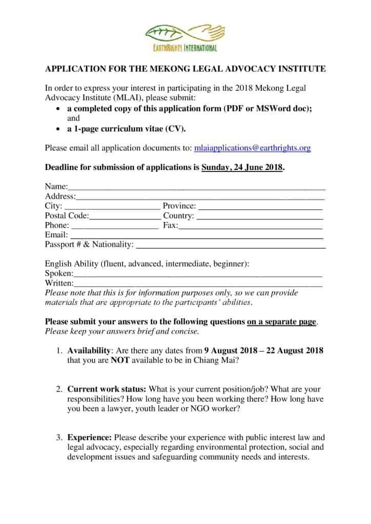MLAI 2018 \u2013 Application form  draft agenda - EarthRights International