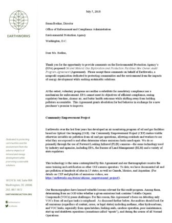 Comments on EPA Oil and Natural Gas Exploration and Production