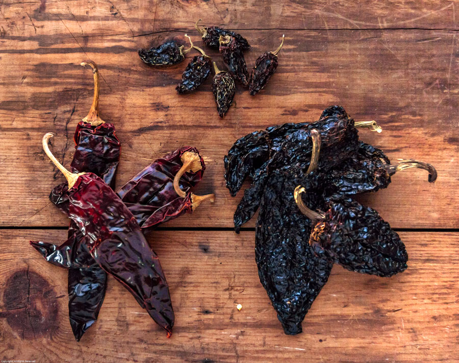 trio of dried chiles – from the top, clockwise; chipotle chiles ...