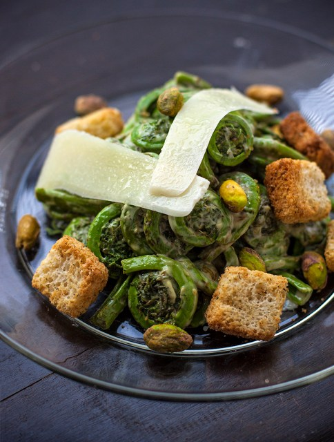 Warm Fiddlehead Salad with Pistachios and Parmesan