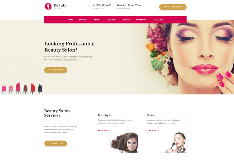 Beauty Salon Websites Templates Free Download - Ease Template