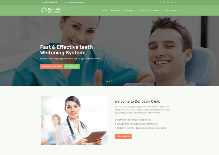 Dentistry Dental Clinic Responsive Website Template - Ease Template