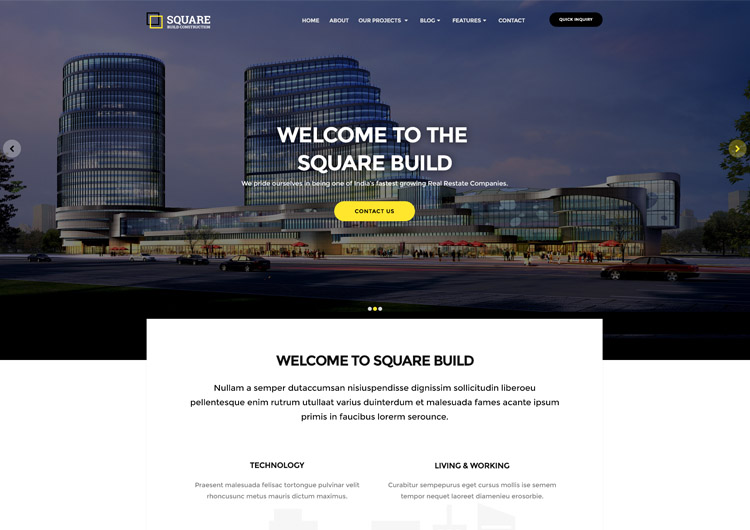 Square a Building Construction Website Template - Ease Template