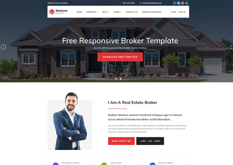 Realone Real Estate Broker Bootstrap Templates - Ease Template