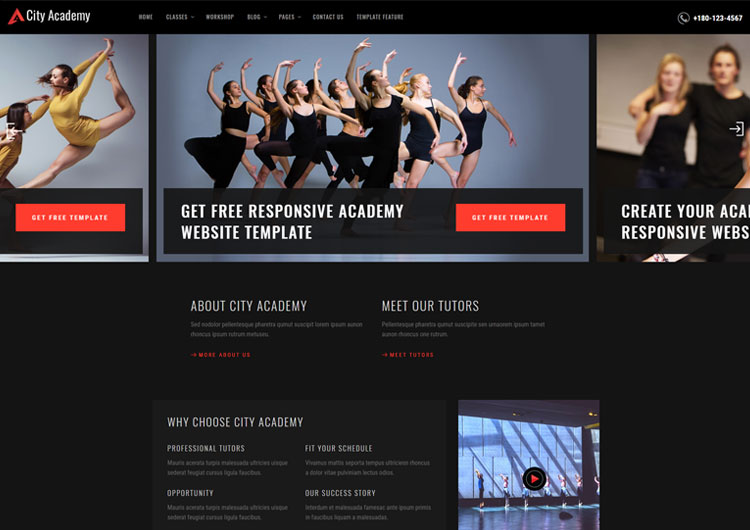 City Dance Academy Website Templates - Ease Template