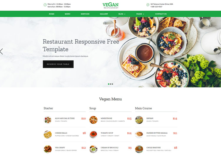 Vegan Restaurant Food Banquet Responsive Templates - Ease
