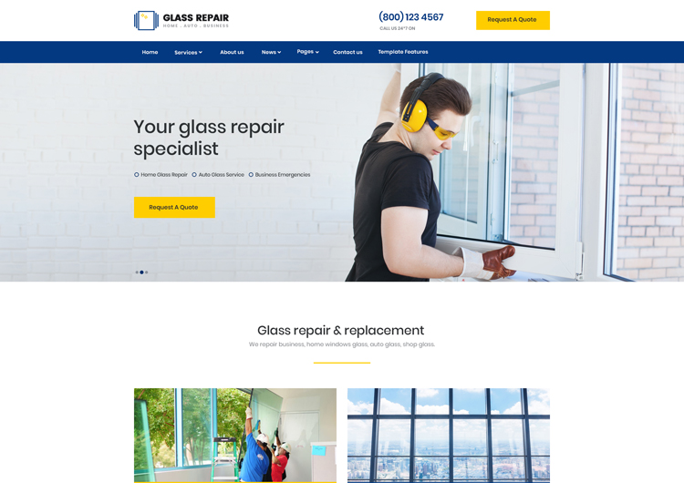 Glass Repair Home Auto Windshield Website Template - Ease Template