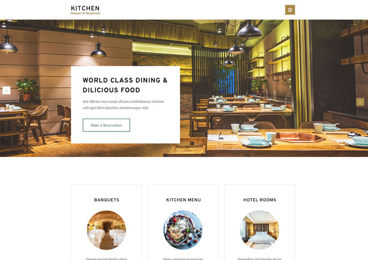 Kitchen Restaurant Hotel Banquet HTML5 Template - Ease Template