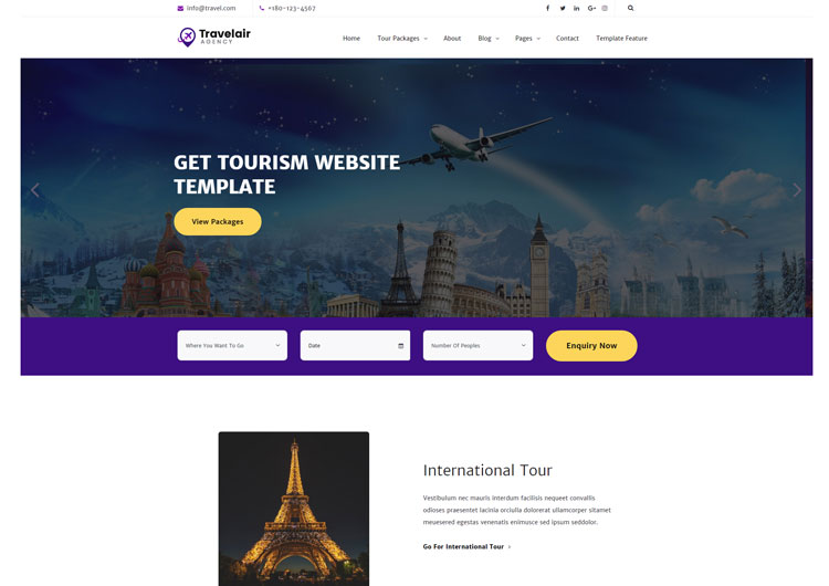 TravelAir Tour Travel  Tourism HTML Website Template - Ease