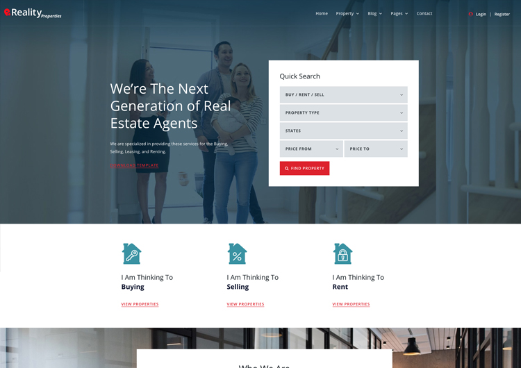 Real Estate Website Template - Reality Responsive - Ease Template