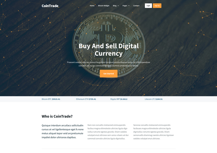 Bitcoin Cryptocurrency Website Template Amazing Design - Ease