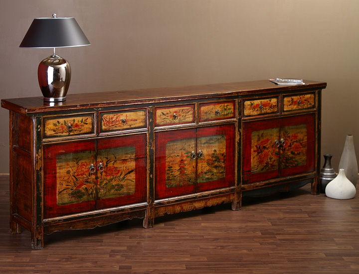 Antikes Chinesisches Sideboard 257cm China Highboard Antik - Sideboard Antik