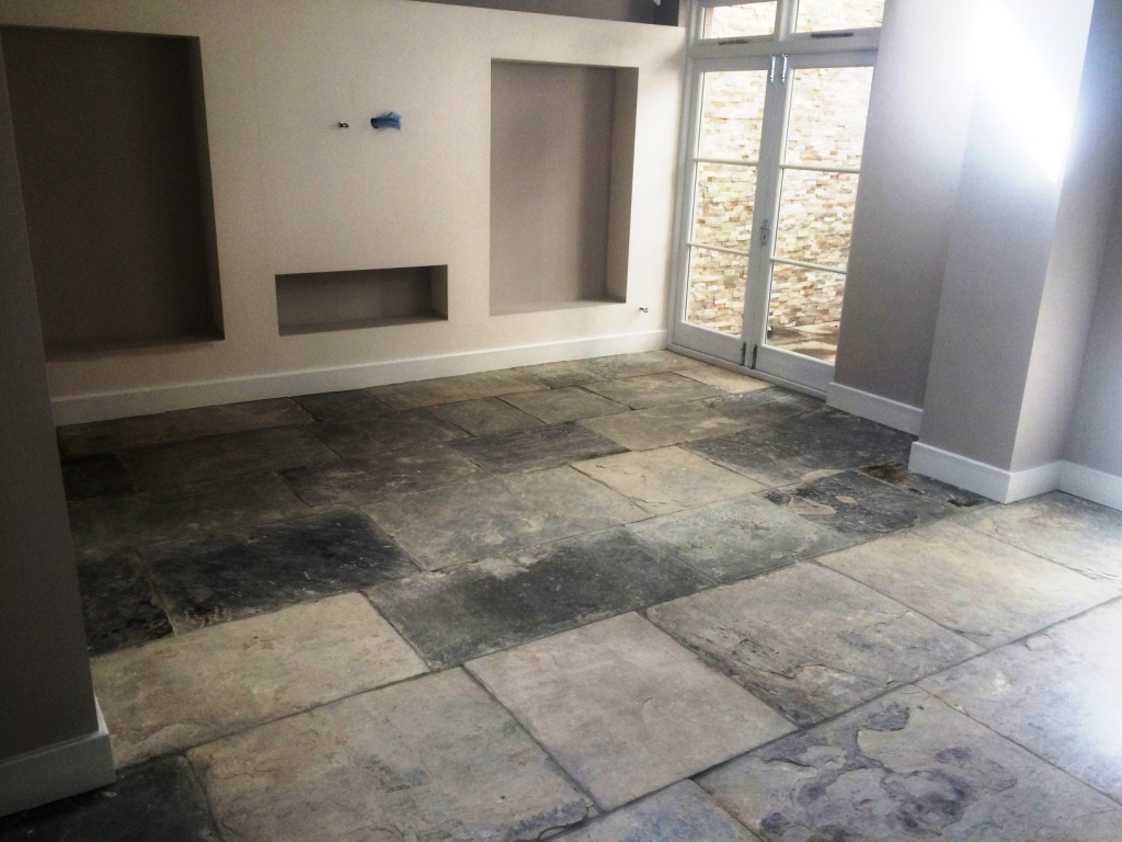Kitchen Tiles York Restoration Of An Extremely Dirty Yorkstone Tiled Floor In