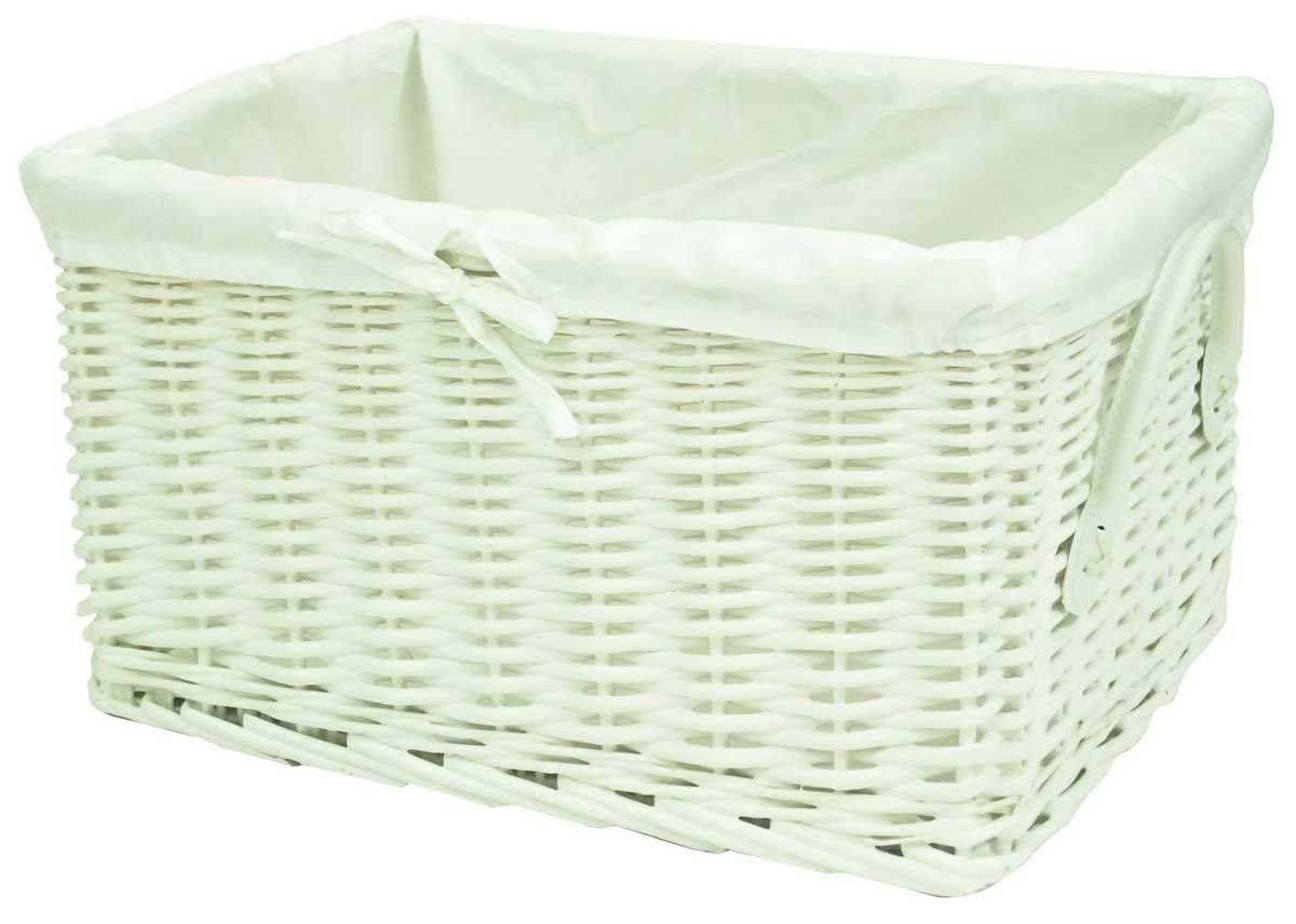 White Hamper With Liner White Giant Rectangular Wicker Willow Storage Basket