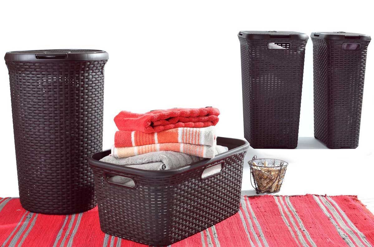 Wicker Laundry Baskets Curver 60 L Rattan Style Plastic Laundry Linen Basket Hamper