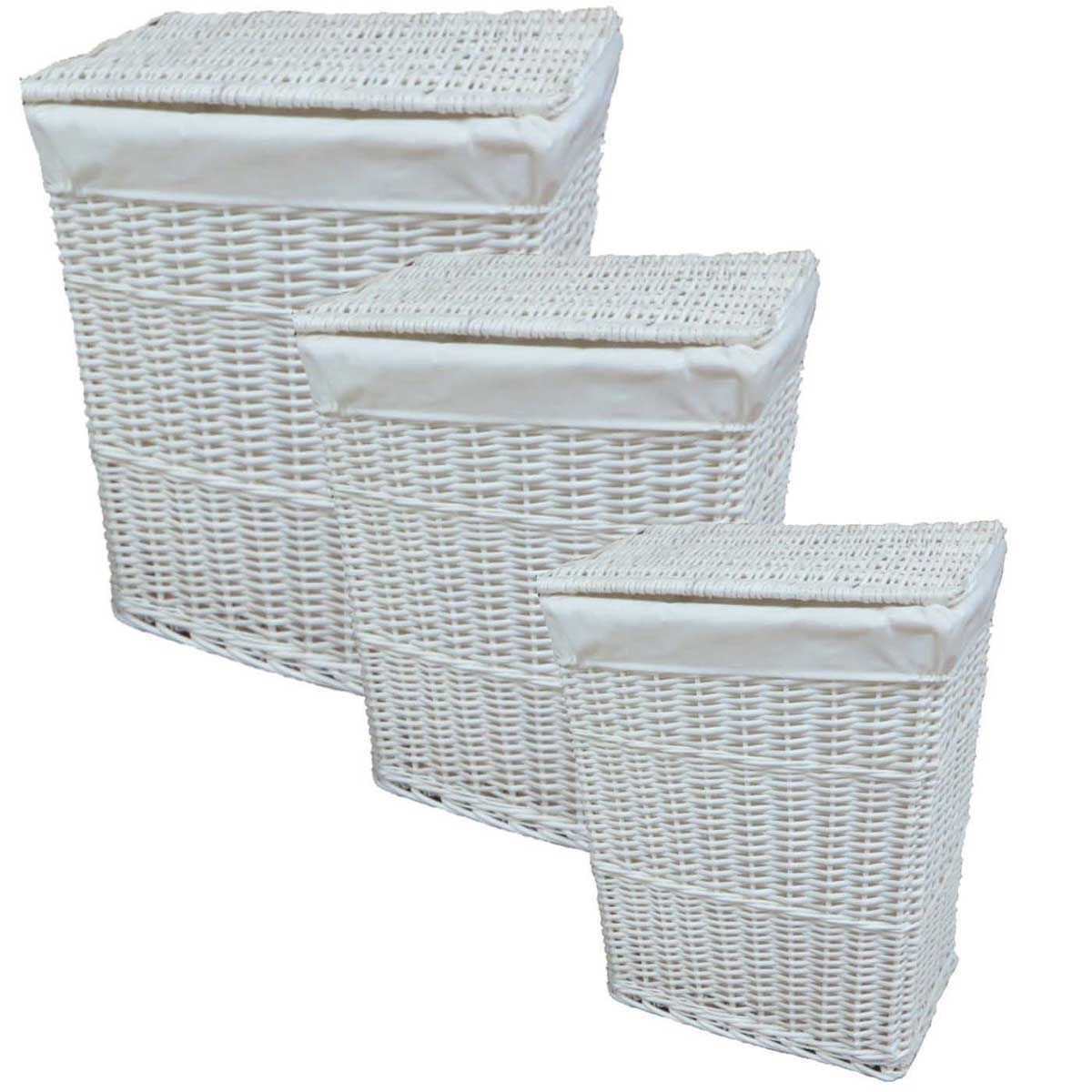 White Hamper With Liner Lidded White Wicker Willow Linen Laundry Bin Storage