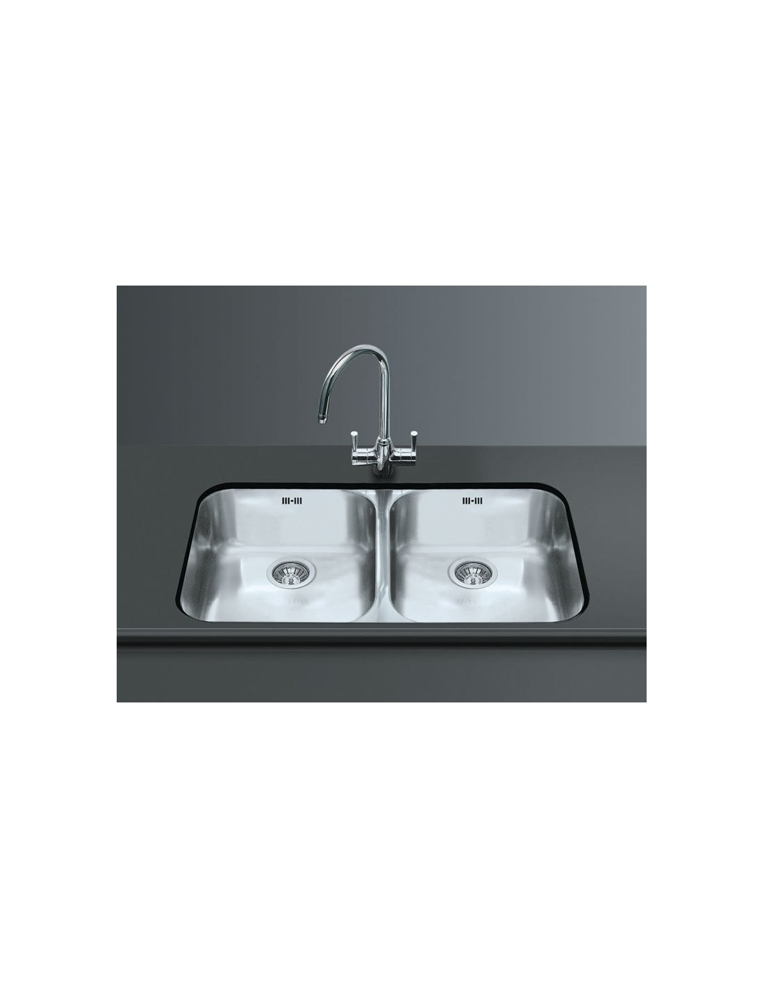 Stainless Steel Double Sink Smeg Um4545 Undermount Large Double Kitchen Sink