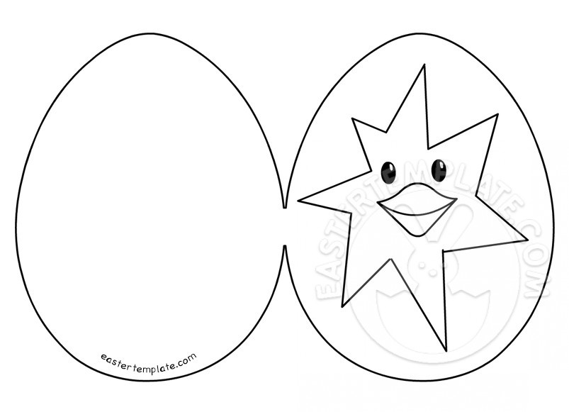 Easter card with chicken in broken egg Easter Template