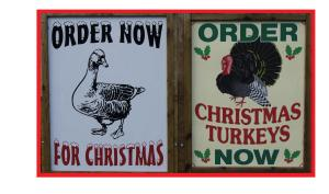 Christmas poultry sign