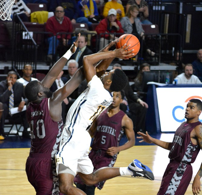 The ETSU men's basketball team defeated the North Carolina Central Eagles Saturday, with a score of 61-59. (Photograph by Lorien Myerson/East Tennessean)