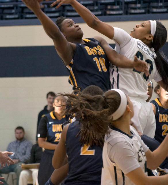 The women's basketball team win 87-65 in their game against the UNC Greensboro Spartans, putting the Lady Bucs 3-0 in the Southern Conference. (Photograph by Lorien Myerson/East Tennessean)