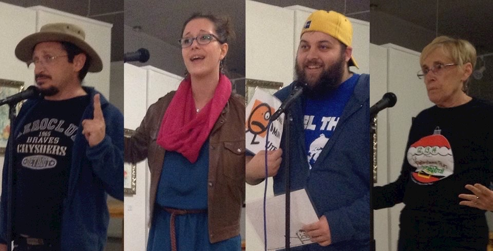 Past participants of  the Re-Generation Story Slam sharing their stories at the Nelson Fine Arts Center.  (Contributed)