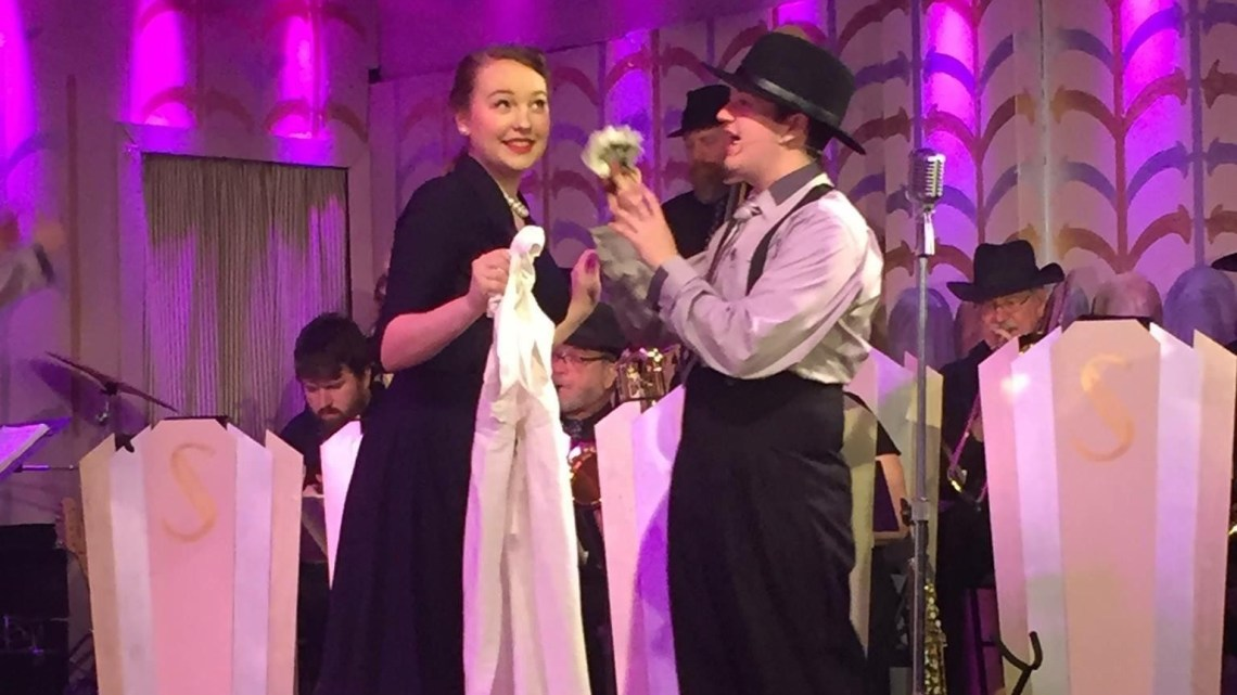 "ETSU Alum Austin Bird and Megan Knight perform ""Kitchen Mechanics' Night Out"" in Jonesborough Repertory Theatre's production of ""Swing!"".  (Photo by Heath Owens)"