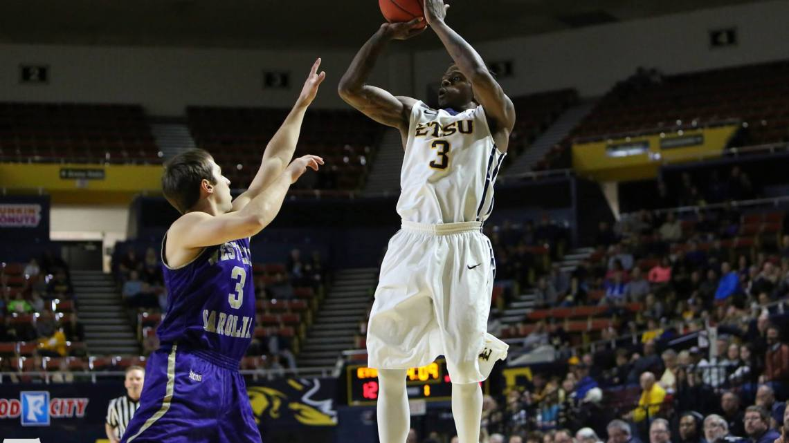 Guard Ge'Lawn Guyn against Western Carolina. Photo courtesy of etsubucs.com.