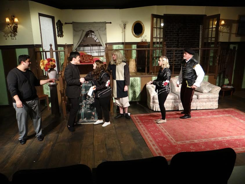 """The cast of """"Leading Ladies"""" during a pivotal scene. Photo Credit: Adam Honeycutt and Michelle Newcomb"""