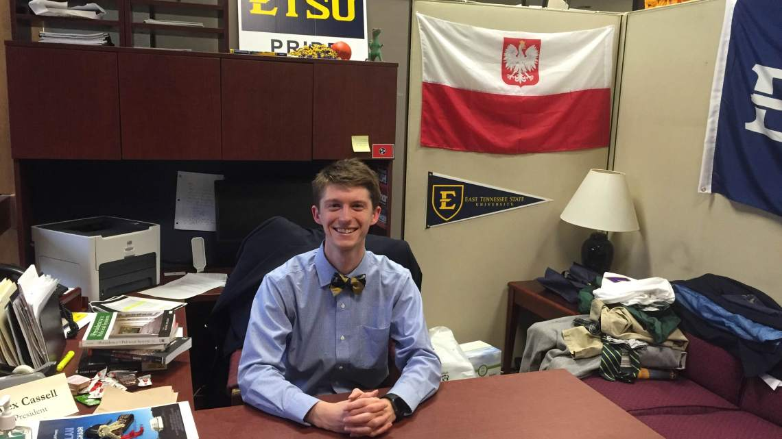 SGA President Alex Cassell in his office. (Photo by Emma Hammer)