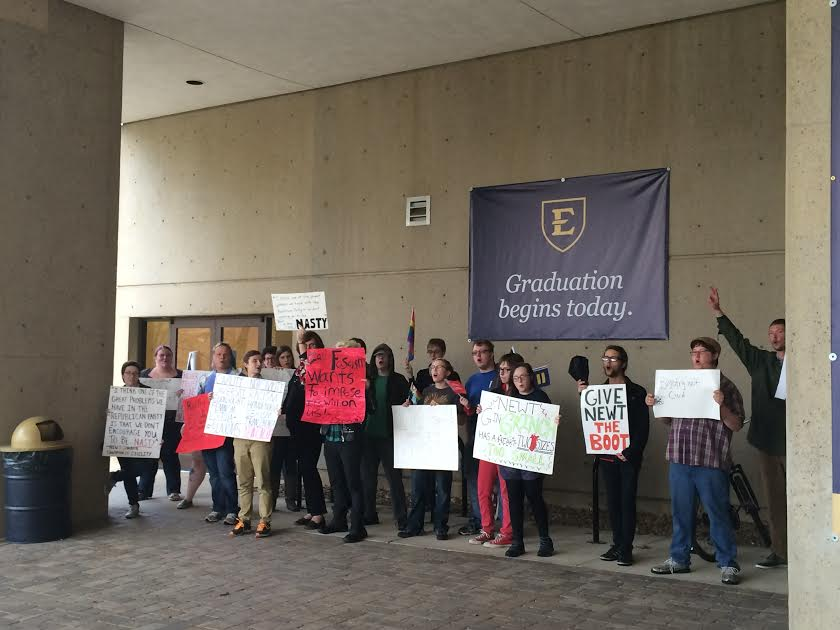 A group of anti- Newt Gingrich protesters formed outside the Culp Center on Thursday evening. (Photo by: Jordan Hensley)