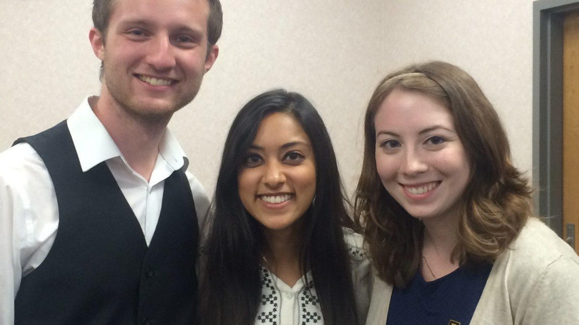 SGA Executives Nathan Farnor, Poojah Shah, and Emily Marmon.