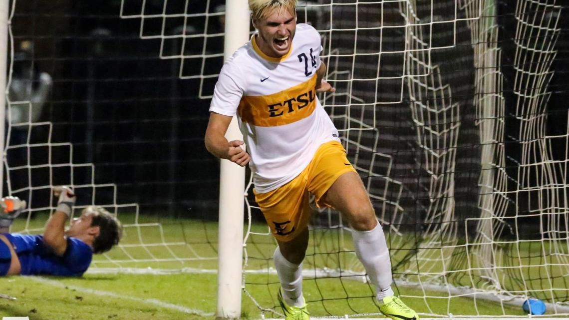 Fletcher Ekern (24) after scoring a goal against Wofford at home. Photo by Dakota Hamilton.