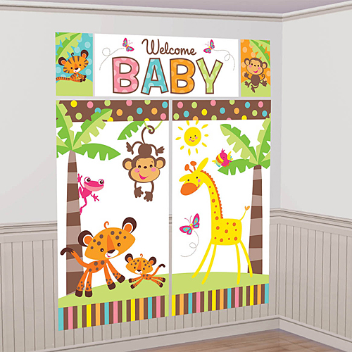 Fisher price baby shower for Baby shower wall mural