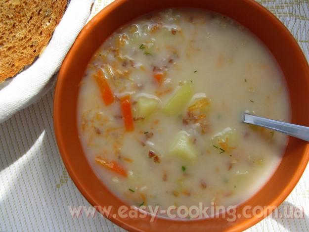 Суп с гречкой и плавленными сырками