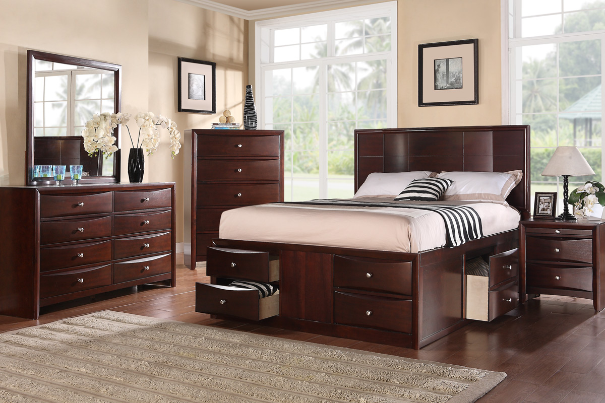 Bed With Drawers Underneath Queen Espresso Finish Solid Wood Platform Bed Frame With