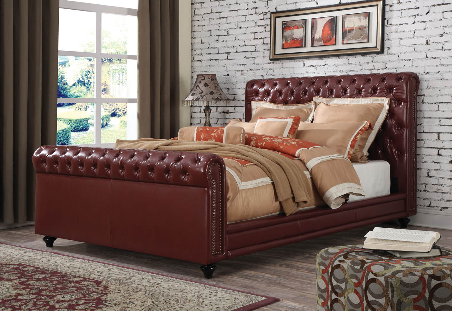 Leather Bed Burgundy Leather Upholstered Eastern King Bed Frame