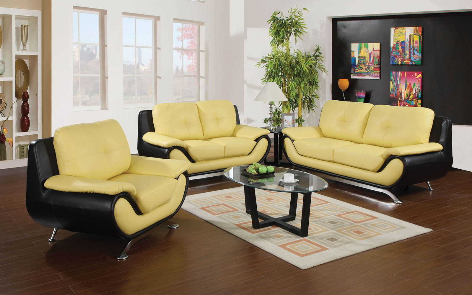 Black And Yellow Modern Sofa