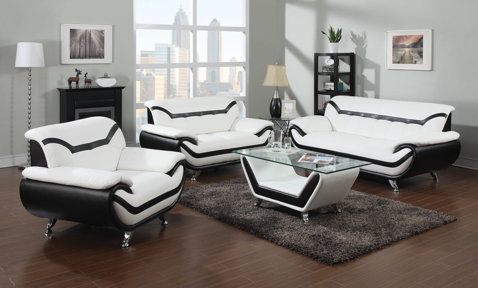 Leather Living Room Furnitures 2 Piece Modern White Leather Sofas With Black Trim