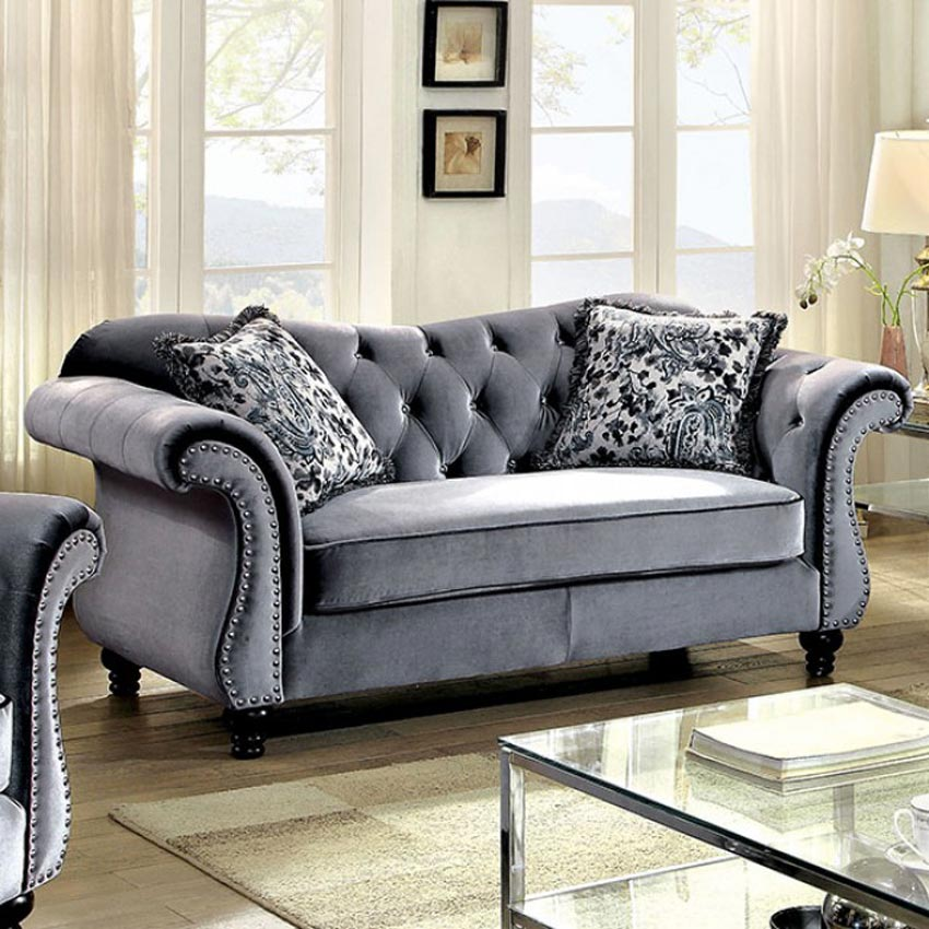 Sofa Set Name List Grey Button Tufted Love Seat