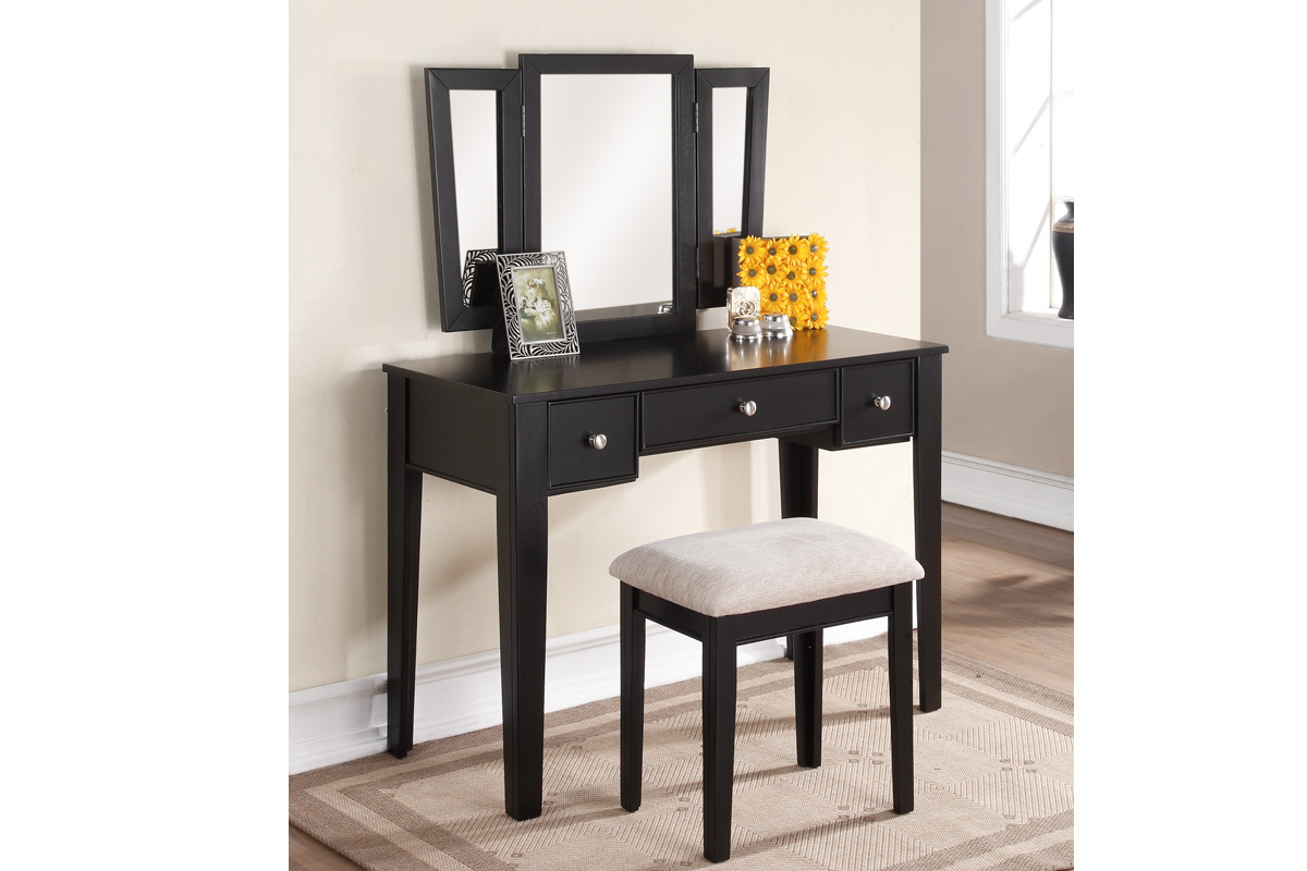 Vanity And Stool Sets Black Vanity Set With Stool