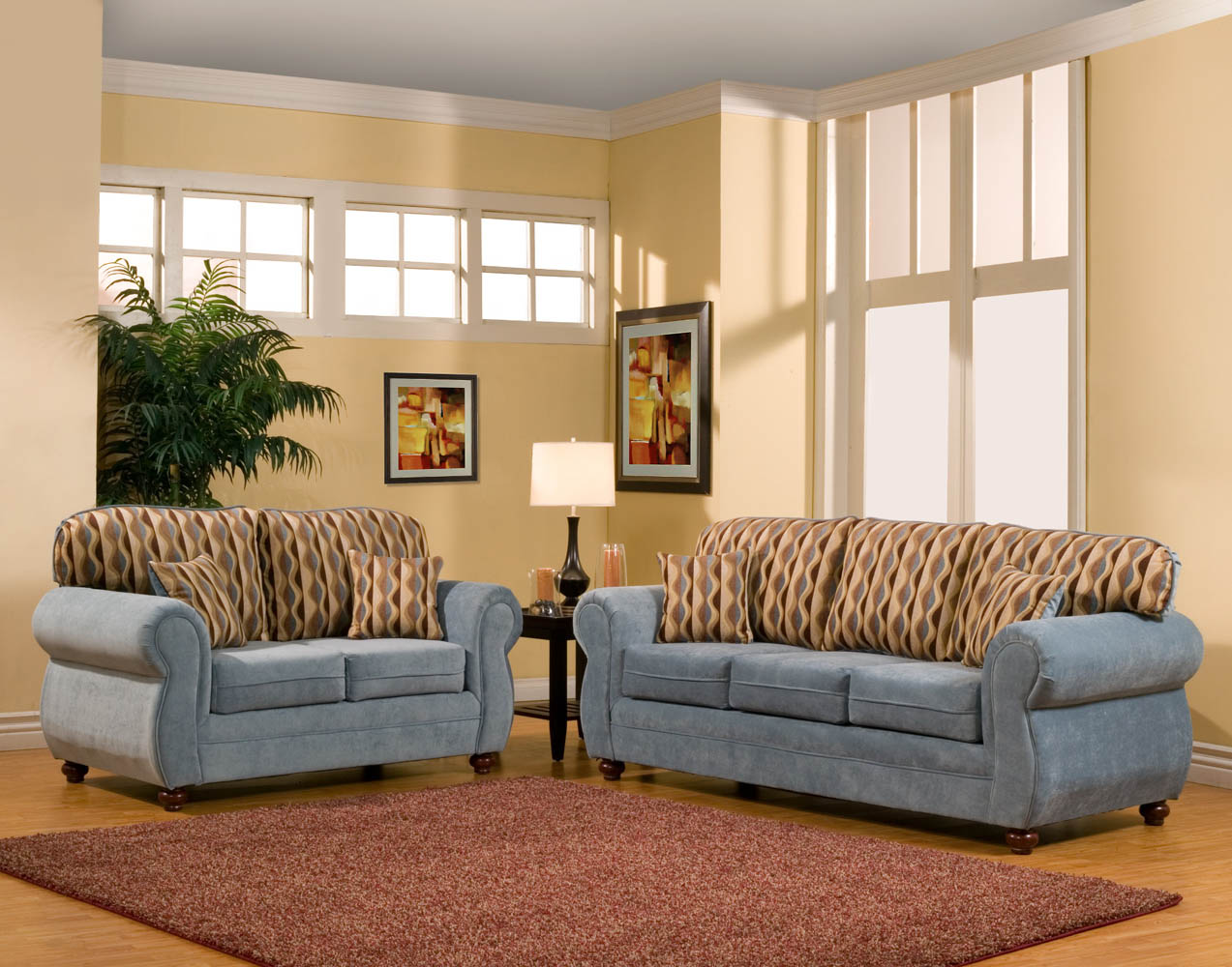 Lichtblauwe Accessoires Woonkamer 2 Piece Light Blue Sofa Set With Combination Pillows